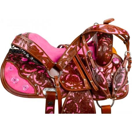Pink Inlay Crystal Brown Barrel Western Horse Saddle 16