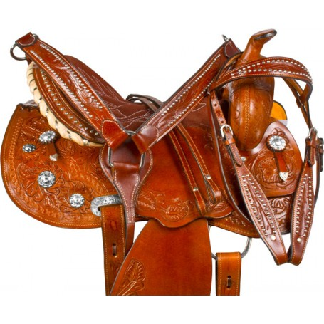 Hand Carved Studded Barrel Racer Western Horse Saddle 14 16