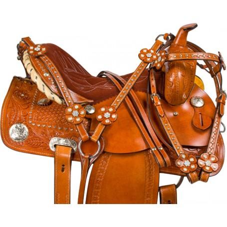 Crystal Tooled Barrel Racing Western Horse Saddle 14 16