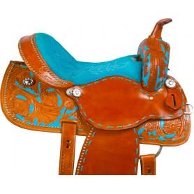 Turquoise Tan Barrel Racer Western Horse Saddle 16
