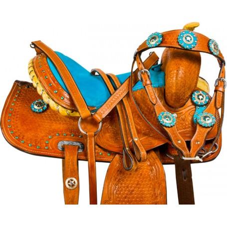 Turquoise Crystal Mini Horse Youth Kids Western Saddle 9