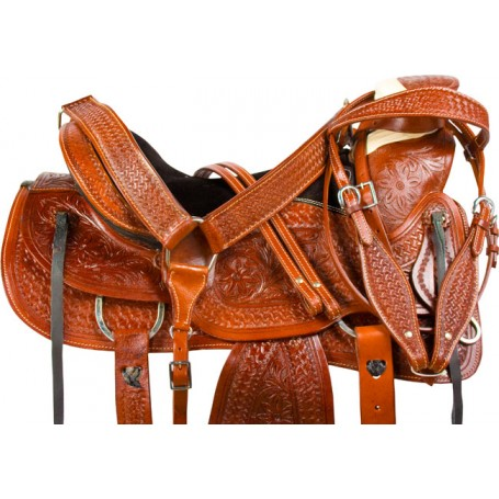 Hand Carved Ranch Roping A Fork Wade Western Horse Saddle