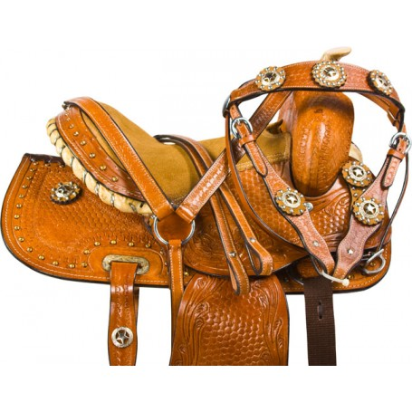 Kids Pony Youth Trail Barrel Show Leather Saddle Tack 10
