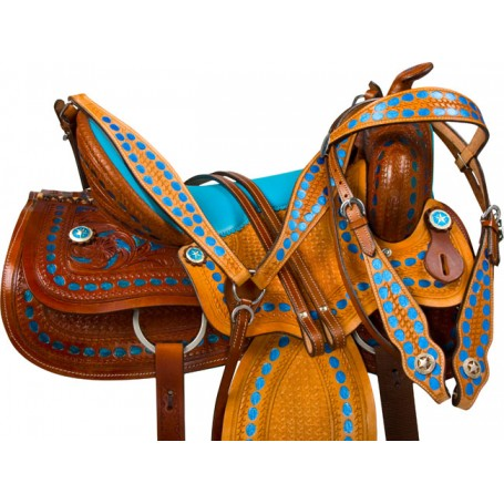Blue Western Barrel Trail Show Horse Leather Saddle Tack 16