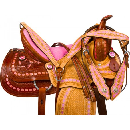 Pink Western Barrel Trail Show Horse Leather Saddle Tack 16