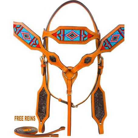 Beaded Western Headstall Bridle Breast Collar Horse Tack Set