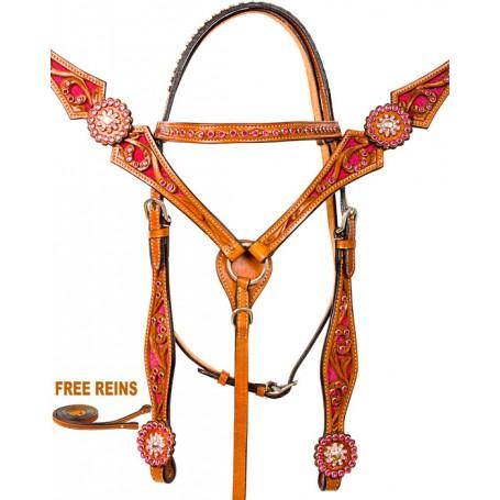 Pink Crystal Western Horse Bridle Breast Collar Tack Set