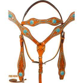 Blingy Blue Crystal Western Bridle Headstall Reins Tack Set