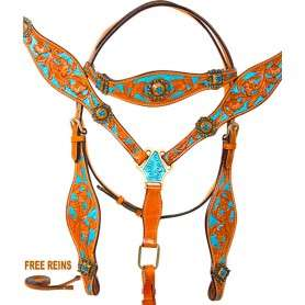 Turquoise Crystal Concho Western Horse Headstall Tack Set