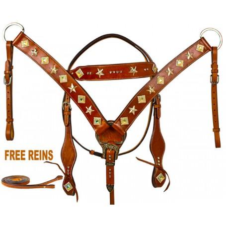 Star Headstall Breast Collar Western Horse Tack Set