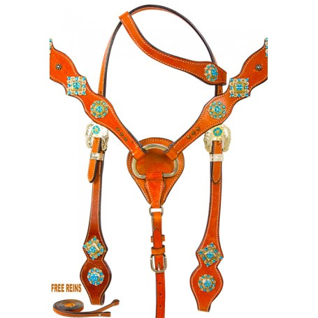 Turquoise Crystal One Eared Headstall Western Horse Tack Set