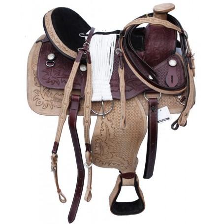 Amazing Tooled Two Tone Western Saddle W Tack. 15 16 17