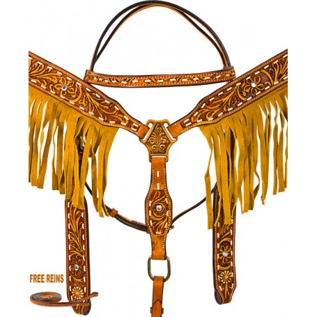 Hand Tooled Fringe Breast Collar Western Horse Bridle Tack Set
