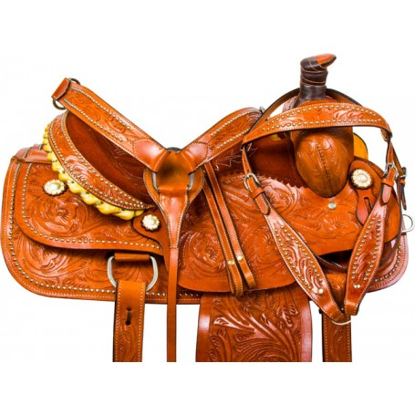 Studded Roping Ranch Work Western Horse Saddle Tack 15