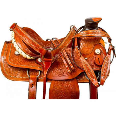 Studded A Fork Wade Tree Roping Western Horse Saddle 16