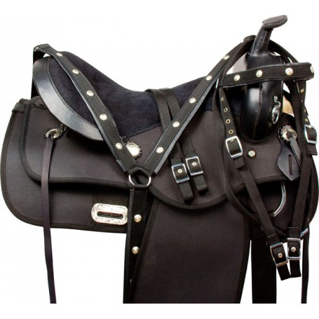 Western Synthetic Trail Endurance Horse Saddle Tack 16 18