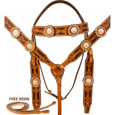 Crystal Hand Tooled Black Inlay Bridle Western Horse Tack Set