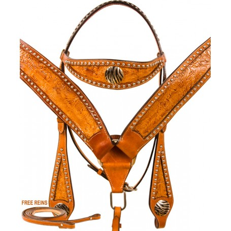Zebra Leather Studded Breast Collar Bridle Western Horse Tack