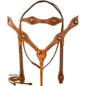 Gator Western Cross Headstall Breast Collar Horse Tack Set