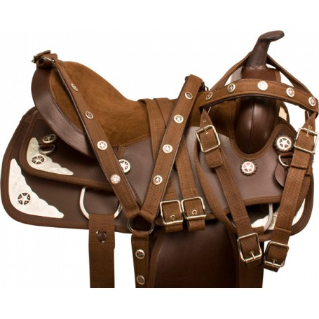 Brown Synthetic Silver Show Horse Saddle Tack Pad 17