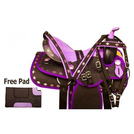Purple Diamond Synthetic Western Horse Saddle Tack 14.5