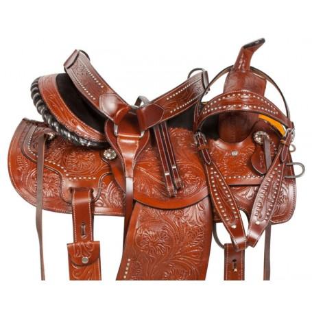 Studded Barrel Racing Western Pleasure Horse Saddle 14