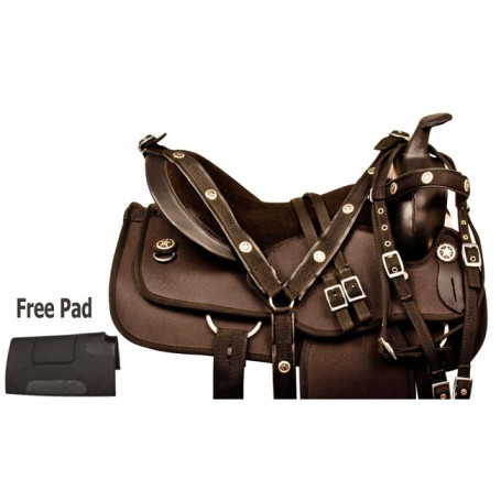 Black Synthetic Western Pleasure Trail Horse Saddle 14 15