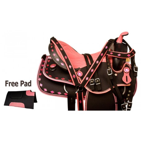 Pink Diamond Synthetic Western Trail Saddle Tack 14