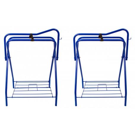 Lot Of 2 Blue Folding Horse Saddle Stands Racks