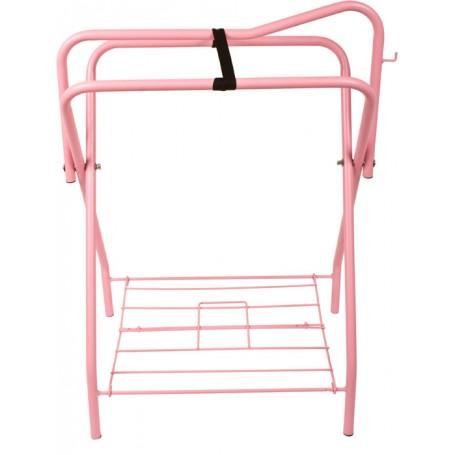 Pink Folding Horse Saddle Stand Rack