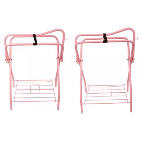 Lot Of 2 Pink Folding Horse Saddle Stands Racks