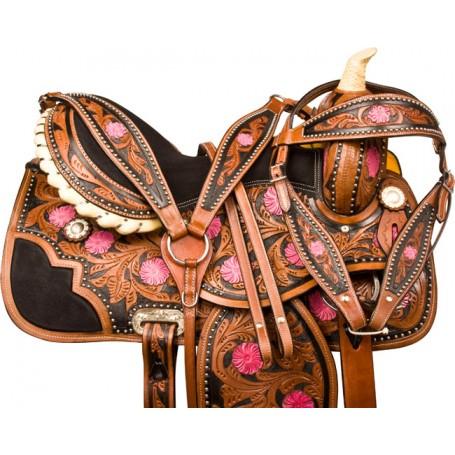 Pink Black Barrel Racer Western Horse Saddle Tack 16