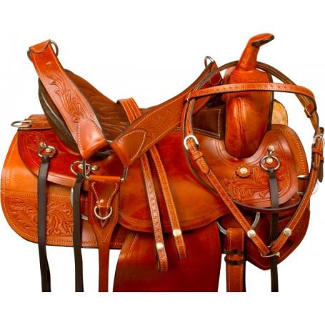Chestnut Tan Pleasure Trail Western Horse Saddle Tack 15