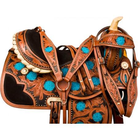 Turquoise Floral Barrel Western Horse Saddle Tack 14 17