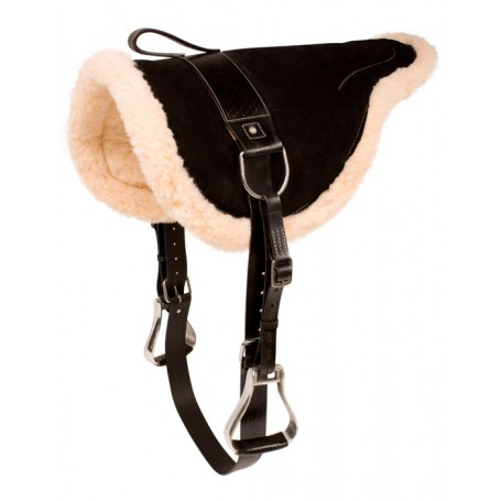 Black Natural Horsemanship Bareback Saddle With Stirrups