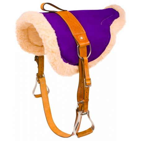 Purple Bareback Saddle Pad With Leather Stirrups Girth
