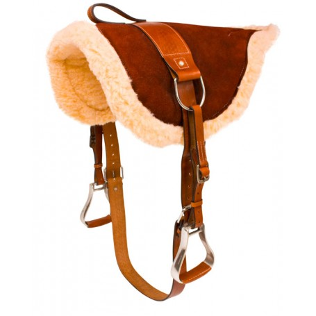 Brown Suede Leather Bareback Saddle Horse Tack Stirrups