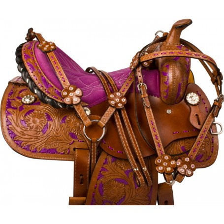Purple Tan Barrel Racer Western Horse Saddle Tack 14