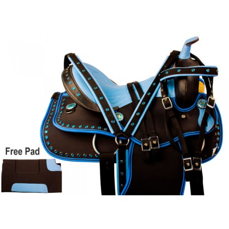 Blue Crystal Synthetic Western Horse Saddle Tack 14 17