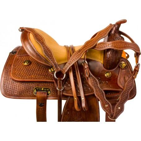 Antique Pleasure Trail Western Horse Saddle Tack 15
