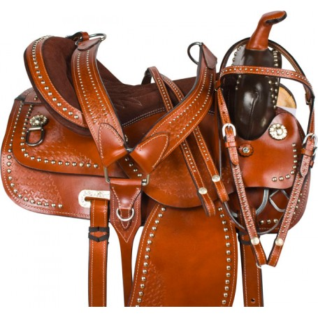 Brown Parade Studded Show Western Saddle 15 16