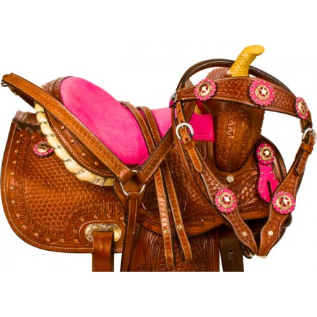 Pink Youth Kids Mini Miniature Horse Western Saddle Tack
