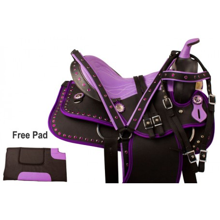 Purple Crystal Lightweight Western Horse Saddle Tack 14