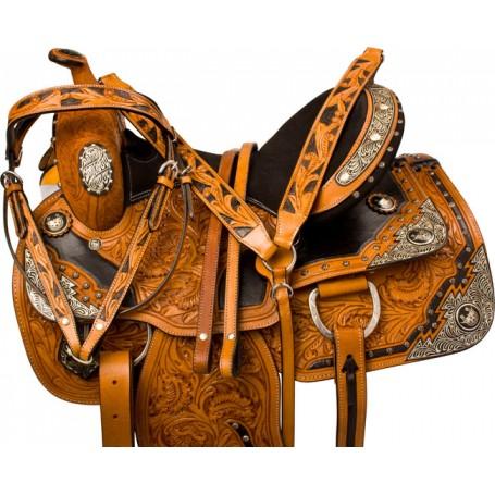 Fancy Silver Equitation Western Show Horse Saddle 16