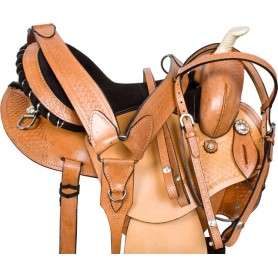 Round Skirt Barrel Racing Pleasure Trail Western Horse Saddle Tack 14 16