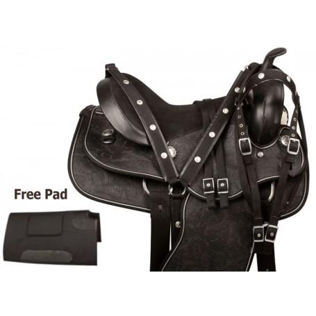 Tooled Black Synthetic Leather Western Horse Saddle Tack 15