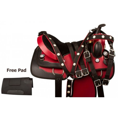 Red Black Synthetic Leather Western Horse Saddle Tack 16