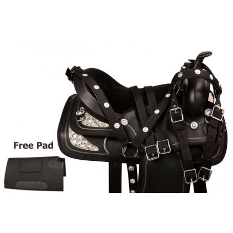 Black Crystal Synthetic Leather Western Horse Saddle 16