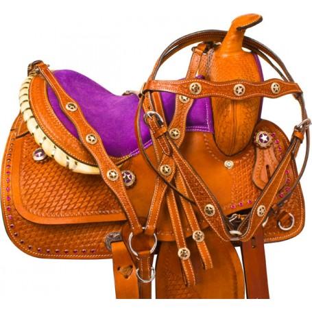 Purple Toddler Youth Kids Western Pony Saddle Tack 10 12