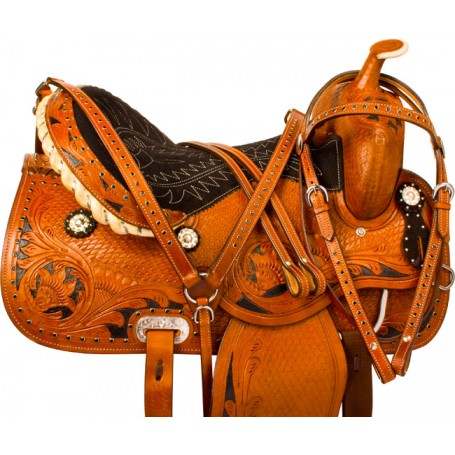 Black Crystal Barrel Racing Western Horse Saddle Tack 14 16